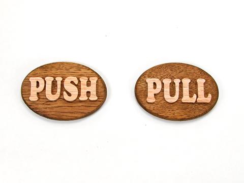 push pull 木のサインプレート 受け取ってすぐに貼れる両面テープ付き
